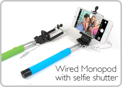 Wired Monopod with selfie shutter