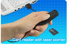 Carbon Fiber micro SD card reader with laser pointer