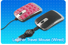 Leather Travel Mouse (extension cable)